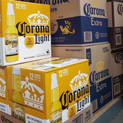 cases of imported beer including corona light and corona extra